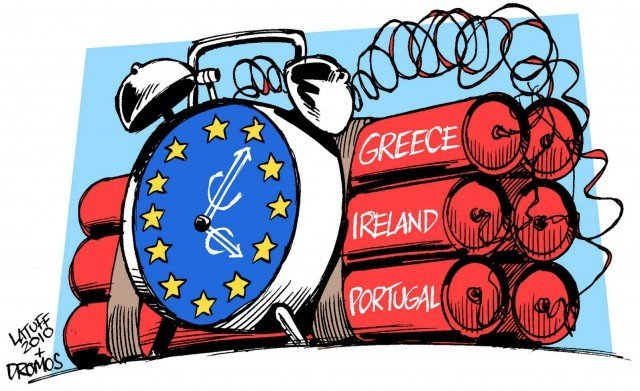 Here is a cartoon of the Euro and a ticking timebomb