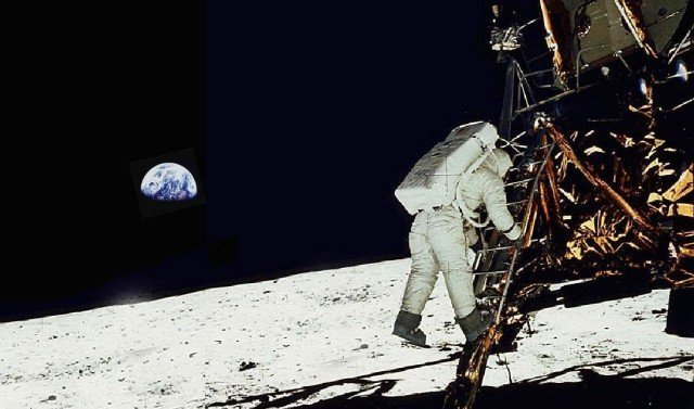 Here is Neil Armstrong stepping down onto the Moon