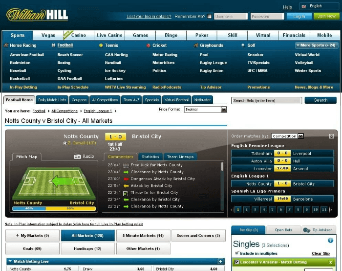 live betting William Hill