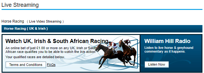 horse racing live William Hill