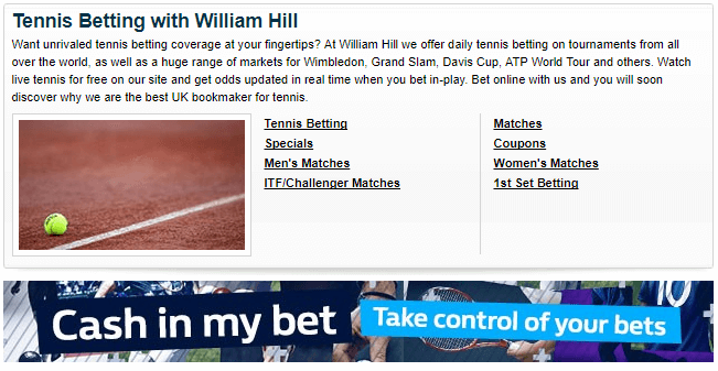 tennis betting William Hill