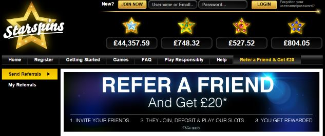 refer a friend Starspins