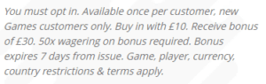 William Hill games 1 promo code terms and conditions