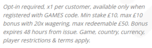 William Hill games 2 promo code terms and conditions