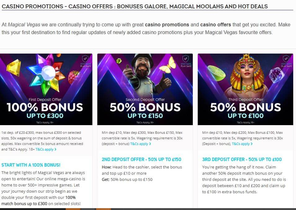 What promotions Magical Vegas has to offer