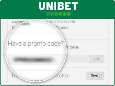 Location of the Unibet promo code box